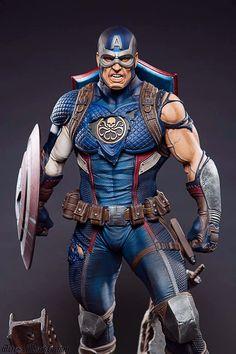 """Realm of Marvel — Captain America fan art - """"Secret Empire"""". Marvel Comic Universe, Marvel Art, Marvel Heroes, Captain America Statue, Captain America Figure, Captain America Comic, Arte Dc Comics, Bd Comics, Comic Books Art"""
