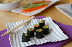 Edamame Pate California Rolls. So good rolled with cucumber, carrot, and red pepper sticks.