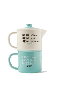 Never search for a mug in the office again! <br> Keep this handy tea-for-one set on standby for afternoon tea. Includes a mug and tea pot. <br> Mug measures 8.5cm H x 10cm W. Tea pot measures 8.5cm H x 10cm W. <br> Made from ceramic. Hand wash only. Not microwave safe. <br/>