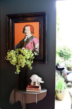 orange and charcoal, small entry way, andy warhol, foyer styling