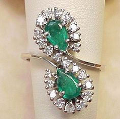 Vintage Ring 2.0 ctw EMERALD .60 ctw Diamond 14k White Gold found at Arnold Jewelers on Ruby Lane
