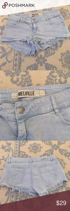 Brandy Melville Light Blue Jean Shorts Size says 42 fits a size 6 person waist very cute in good condition Brandy Melville Shorts Jean Shorts