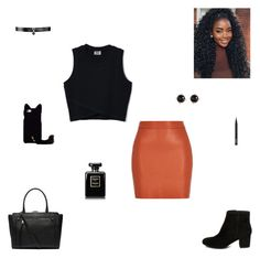 """""""orange and black"""" by synclairel ❤ liked on Polyvore featuring Steve Madden, Fallon, Witchery, NARS Cosmetics, Irene Neuwirth, Fall, cute, casual and ootd"""