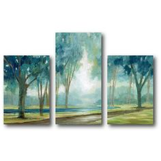 Teal Tranquil Tree Canvas Wall Art