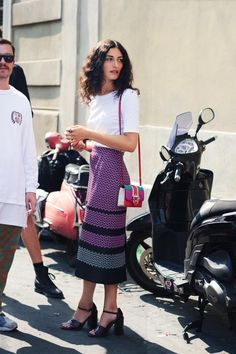 Shop the Pin: Missoni-esque Printed Midi Skirt, White Tee, Stacked Heel Ankle…