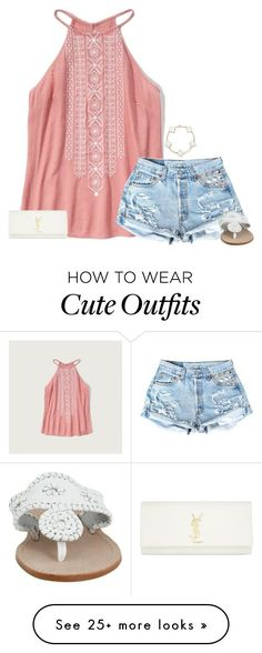"""cute spring break outfit "" by lilypackard on Polyvore featuring Abercrombie & Fitch, Jack Rogers and Yves Saint Laurent"