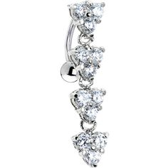 Top Drop Clear Gem Blossom Titanium Belly Ring | Body Candy Body Jewelry