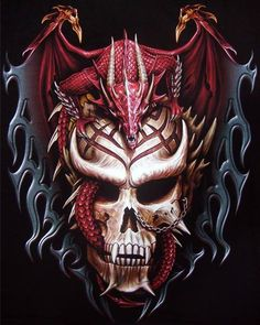Tattoo Biker Rock Mens T-shirts, Asian Chinese Dragon Gothic Vampire Skull T-shirt Dragon Tattoo With Skull, Dragon Tattoo Designs, Snake Tattoo, Skull Artwork, Dragon Artwork, Skull Pictures, Dragon Pictures, Dark Fantasy Art, Dark Art