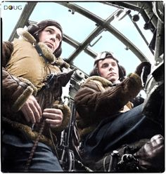Pilot and co-pilot in the cockpit of their No. 149 RAF Squadron Wellington bomber, probably at RAF Mildenhall in 1941. The pilot is David Donaldson, who was promoted to Wing Commander in 1943 at the age of 28.