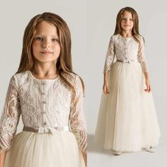 Wholesale 2015 Flower Girls Dresses - Buy Latest Crew Lace/Tulle Flower Girls' Dresses 3/4 Sleeves Appliques Ruched 2015 New Arrival First Communion Gowns Cheap Top Quality Cheap, $57.23 | DHgate