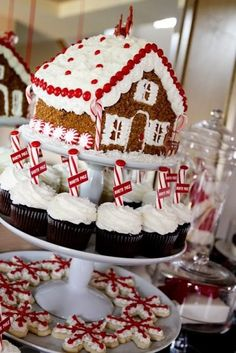 Gorgeous way to display Christmas themed desserts for a holiday party!  Three tiered platter with a gingerbread house on top, cupcakes in the middle and cookies on the bottom.  (picture inspiration)