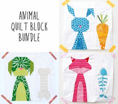 This is the paper piecing pattern bundle for the Smitten Kitten, Dapper Doggy and Funny Bunny quilt blocks. Do you have friends who love love love their dog, cat or bunny? Or maybe you yourself are a dog or cat person or a bunny lover? How great would it be to make a personalized mini quilt or pillow with the cuties we love most.  With this bundle you dont have to pick your favorite block. The bundle will give you all three blocks with a 15% discount!  The block sizes of the patterns are…