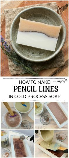 Learn how easy it is to make pencil lines to add visual interest to your handmade cold process soaps. Also includes 12 natural colorant options to experiment with! soaps How to Make Pencil Lines in Soap natural colorant options} Handmade Soap Recipes, Soap Making Recipes, Handmade Soaps, Diy Soaps, Diy Cosmetic, Soap Colorants, Glycerin Soap, Savon Soap, Soap Packaging