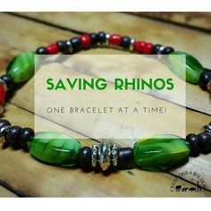 Boone's bracelet is now available!  Inspired by Boone the Rhino who lives at the San Francisco Zoo. Each bead represents one of Boone's favorite things – sticks, leaves, apples, and a foobler ball. This bracelet is made from peridot glass beads, silver & glass spacer beads. In addition to the 40% for International Rhino Foundation, $1 from each sale will go directly to the San Francisco Zoo for Boone's care.