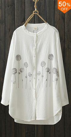 O-NEWE Women Casual Button Printed Blouse. Casual Style, Long Sleeve, O-Neck. Color:Brown,Green,White. Size:L,XL,XXL,XXXL,XXXXL,5XL. Buy now! #women #blouse #fashion