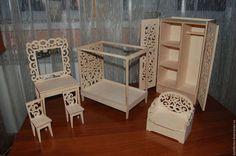 Кукольная мебель для кукол Барби и куклы-дочки. Набор. Заготовка для декупажа и росписи.