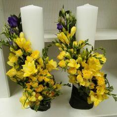 Lumanari nunta cilindrice frezii galbene Flower Arrangements, Our Wedding, Bouquet, My Style, Flowers, Plants, Design, Giant Paper Flowers, Paper Envelopes