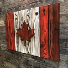 Canada Burnt Wood Flag Art (Shou Sugi Ban) – Wood Canadian Wall Art for Cottage or Man Cave – Canadian Flag Wood Art Woodworking Projects Diy, Diy Wood Projects, Wood Crafts, Art Projects, Wooden Wall Art, Wall Wood, Wood Flag, Flag Art, Art Mural