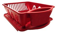 Red Sterilite Two Piece Sink Set Dish Rack Drainer Kitchen Perimeter Cup Holder * More info could be found at the image url.