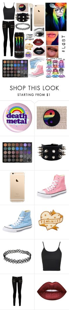 """""""LGBT"""" by cr33pyp45t4 ❤ liked on Polyvore featuring Morphe, Converse, Topshop, Paige Denim, Lime Crime and MAC Cosmetics"""