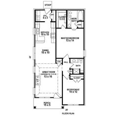 first floor plan of traditional house plan 47550 i would extend the entire left wall out by 3 feet so that the kitchen dining great room and porch were - Plan Of House