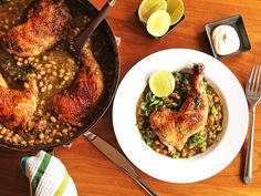 Crispy braised chicken with white beans and chile verde.