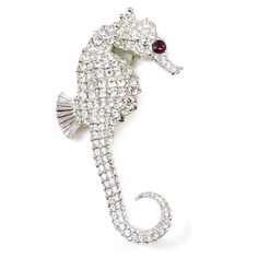 Big Pictures of Seahorses | Kenneth Jay Lane Large Crystal & Silver Seahorse Brooch Pin (Code: KJL ...