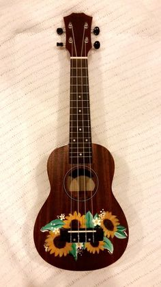 Sunflower ukulele painted by me! made with acrylic paints! Guitar Painting, Guitar Art, Arte Do Ukulele, Ukulele Chords, Ukelele Painted, Painted Guitars, Ukulele Design, Mellow Yellow, Acrylic Painting Canvas