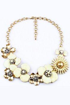 Fimo inspiration-Sweet Flower Bib Necklace OASAP.com