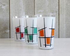 Retro Bistro Frosted Drinking Glasses - With Geometric Patterns - Red, Green & Orange - French Kitchen Vintage by OhlalaCamille on Gourmly