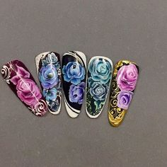 janaduzanec_jananails   User Profile   Instagrin Simple Art Designs, Beautiful Nail Designs, Sns Nails, Nail Manicure, One Stroke Nail Art, Sponge Nails, Vintage Nails, Nail Patterns, Flower Nail Art