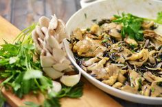 Yay! Finally something simple and simply divine to do w/those oyster mushrooms you see every week at Farmer's Market and wish you knew what to do to with to honour them properly. ! Wild Rice with Oyster Mushrooms | KneadForFood