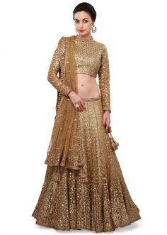 Gold lehenga adorn in zari and sequin embroidery only on Kalki