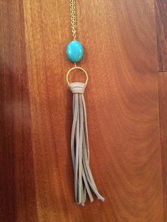 Mini Turquoise & Suede Tassel Necklace by ShopDeuxLuxe on Etsy