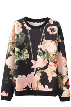 Pink Floral Plant Print Round Neck Long Sleeve Sweatshirt