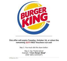 Crook Behind Tim Hortons Giftcard Facebook Scam Launching Burger King Scam I Love Burger, Facebook Scams, Free Vouchers, Tim Hortons, Product Launch, King, Sayings, Lyrics, Quotations