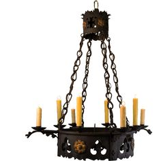 1920's 8 Light French Wrought Iron Gothic Tudor Chandelier Ceiling Fixtures, Ceiling Lights, Wrought Iron Chandeliers, Tudor Style, 1920s, I Shop, Restoration, Gothic, French