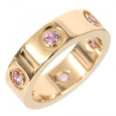 Pre-owned Cartier 18K Rose Gold Full Pink Sapphire Love Ring ($2,320) ❤ liked on Polyvore featuring jewelry, rings, 18k ring, pink gold jewelry, cartier jewelry, pre owned rings and cartier ring