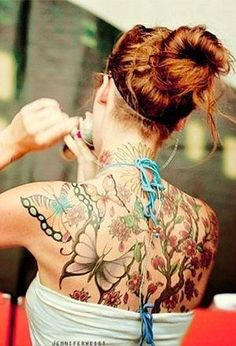 Butterflies and flowers tattoo