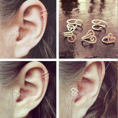 Ear Jewelry, Cute Jewelry, Jewelry Crafts, Beaded Jewelry, Jewelry Making, Jewellery, Jewelry Ideas, Wire Jewelry Designs, Handmade Wire Jewelry