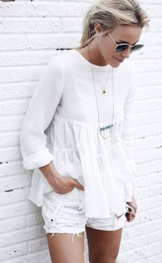 Summer must have: Kimchi Blue baby doll white blouse.