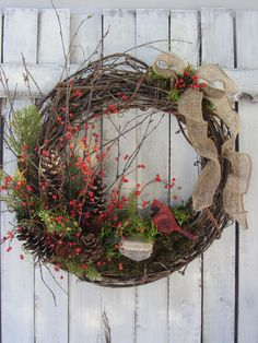 Winter Wreath - Rustic Winter Wreath - Cardinal Twig Wreath - Bird Wreath - Cardinal - Berry Wreath - Front Door Decor - Valentine Wreath