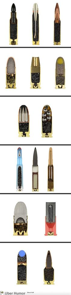 Bullets Split Precisely in half by Sabine Pearlman. A nice look at diffeent types of ammo. I wonder which is the most lethal - Emm