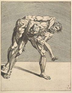 Wrestlers (4) - ca. 1552.   Dirk Vollertsz Coornhert  (Netherlandish, Amsterdam 1519/22–1590 Gouda)