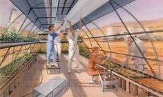 an impression of a greenhouse on Mars.