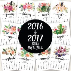 Watercolor Floral Calendar, 2016 Calendar, 2017 Calendar, Floral Wall Art. Printable Calendar, Month Year Desk Watercolor Calendar, Calendar