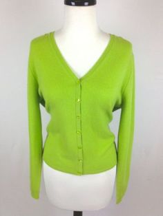 Cynthia Rowley Sweater Wool Merino Green Button Up Cardigan Long ...