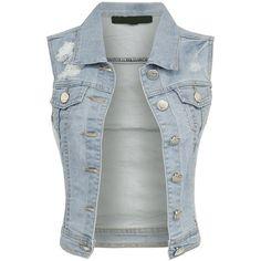 BEKDO Womens Classic Vintage Light Blue Destroyed Denim Vest