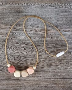 Silicone Teething Necklace in Blush – Sugarplum Collection