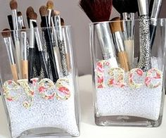 I want some pretty little jars to start keeping my brushes, glosses and eyeliners in.